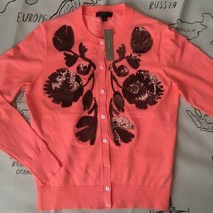 J Crew Sequin Floral Cardigan, Brand New, Medium
